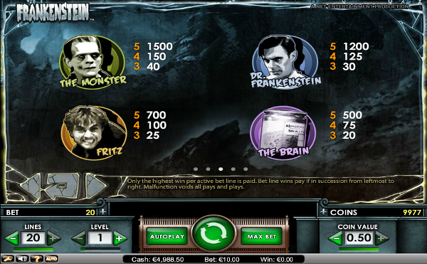 Игровой автомат Frankenstein - сокровища безумного доктора в казино Вулкан