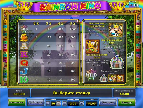 Игровой автомат Rainbow King - король делится богатствами в казино Вулкан