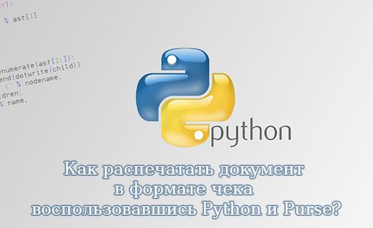 Как распечатать документ в формате чека воспользовавшись Python и Purse?