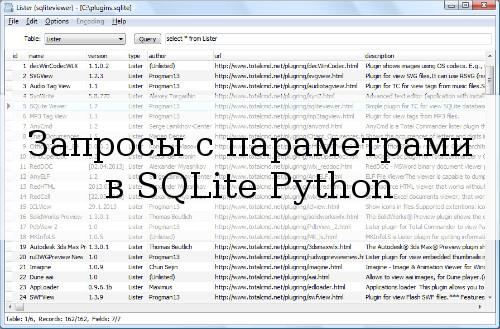 Запросы с параметрами в SQLite
