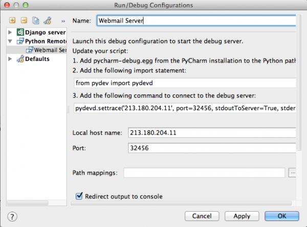 Remote debugging: PyCharm, pydev, rsync, django, postgis